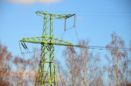 Electrical transmission tower. High voltage. Stock Photo