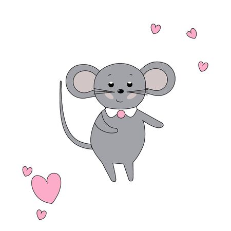 Cute dancing mouse and hearts isolated on white background. Vector illustration. Funny, childish, simple