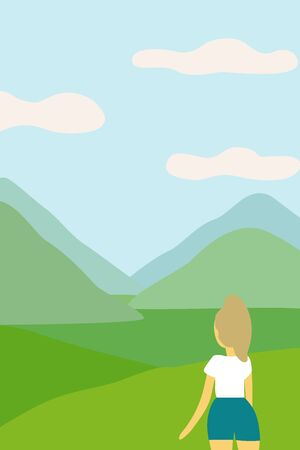 Vector illustration. Simple landscape with mountains.Cute, childish, simplified image. Girl and mountains. For children's messages, ads.