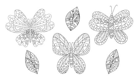 Hand drawn vector illustration. Set with cute butterflies on a white background, coloring book for children. Simple shape and ornament, Doodle style.  向量圖像