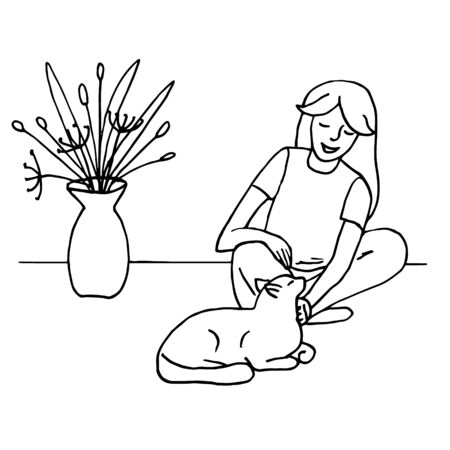 A girl strokes a cat. Simple drawing, sketch. Black lines on a white background, Doodle. Hand drawn vector illustration.