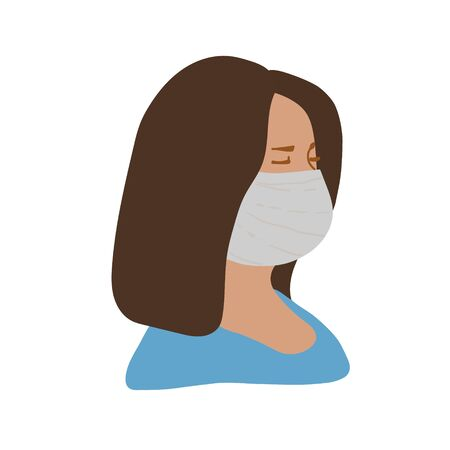 A woman in a medical mask. The girl is sideways, up to her shoulders, in blue clothes. Flat style, vector illustration.