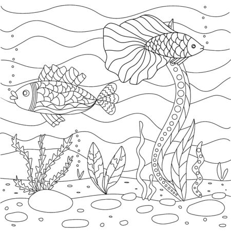 Vector illustration with algae and fish, sea floor. Cute square page coloring book for small children. Simple funny kid's drawing. Black lines, sketch on a white background. Illustration
