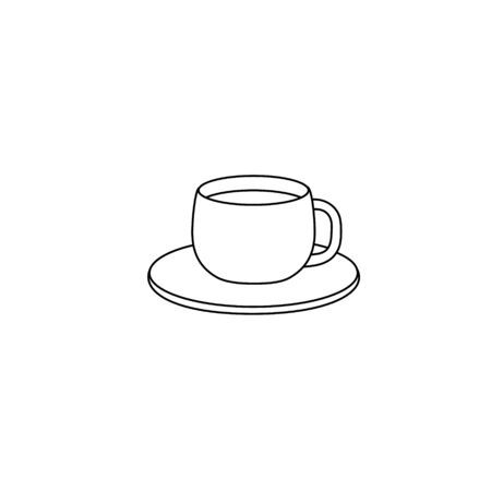 Vector illustration with a simple mug. Cup and saucer silhouette, black lines on white, sketch, Doodle.