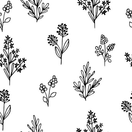 Hand drawn vector illustration. Seamless pattern with silhouettes of simple grass, wild flowers and twigs. Sketch, black outline on white.For textiles, modern decor.