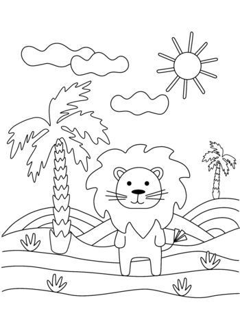 Cute coloring book with a funny lion, palm tree, sun. For the youngest children. Black sketch, simple shapes, silhouettes, contours, lines. Childrens vector illustration.