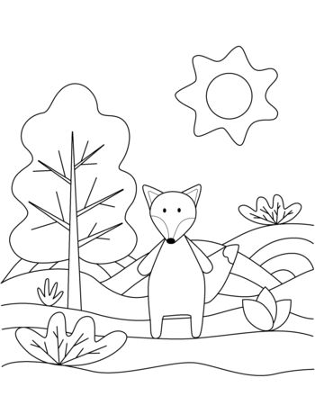 Cute coloring book with funny fox, sun, grass, trees. For the youngest children. Black sketch, simple shapes, silhouettes, contours, lines. Childrens fairy tale vector illustration.