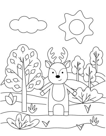 Cute coloring book with funny deer, sun, grass, trees. For the youngest children. Black sketch, simple shapes, silhouettes, contours, lines. Childrens fairy tale vector illustration.