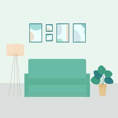 Cute room interior, furniture, sofa, shelf with books and home flowers, lamp, design. Vector illustration in soft pastel green colors. Zdjęcie Seryjne