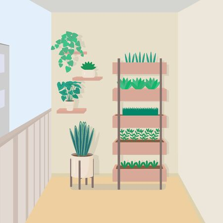 Apartment balcony with flowers and pots, interior. Simple design, minimalism, pastel colors. Cute vector illustration.