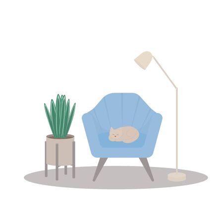 A cat is lying on a chair, a lamp, a flower. Cozy, cute illustration, flat and simple, vector.