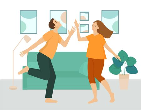 A couple of young people are dancing in the living room. A man and a woman spend fun time together at home. Interior of the room in green shades, furniture, sofa, flower, paintings. Flat vector. 写真素材