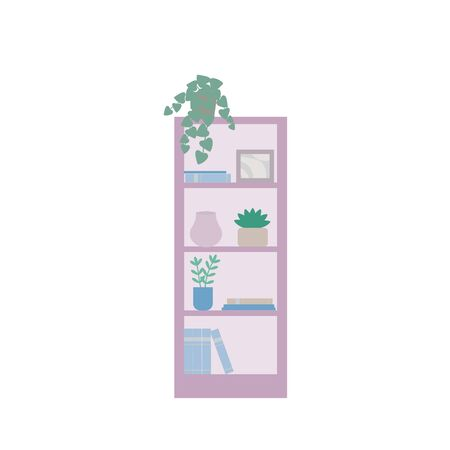 Shelving with books, home plants, vases, accessories. A Cabinet with shelves, a piece of furniture in pink and blue pastel shades. Flat cartoon style, simple vector illustration.