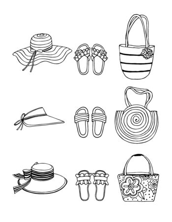 Hand drawn vector illustration. Summer shoes, flip-flops, sandals, hats and bags with decor. Set, collage of fashionable elements. Black sketch, Doodle on a white background. Vectores