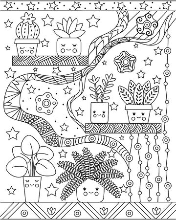 Kids coloring book with simple potted flowers and Doodle ornaments. Vertical page with a cute image of funny plants. Vector illustration.