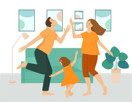 The family is having fun and dancing in the living room. Parents and daughter celebrate together at home. Interior of the room in green tones, furniture, sofa, flowers, paintings. Flat vector. 向量圖像