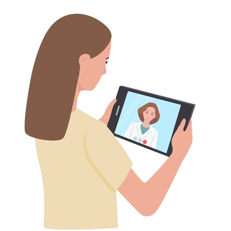 Online treatment to the doctor, consultation, video call to the hospital. The girl is holding a tablet, communicating with the physician. Flat vector illustration. Vettoriali