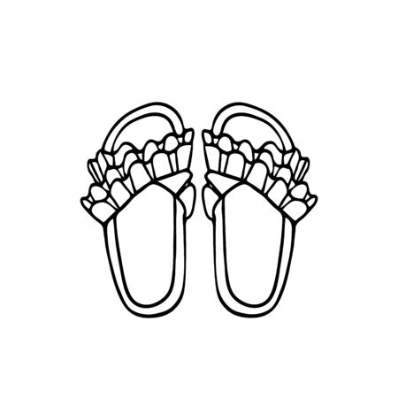 Hand-drawn vector illustration. Summer shoes, flip-flops with decor. Black sketch, Doodle on a white background.