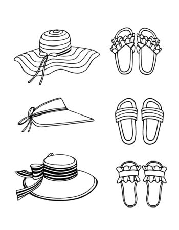 Hand drawn vector illustration. Summer shoes, flip-flops, sandals, and straw hats with decor. Set, collage of fashionable elements. Black sketch, Doodle on a white background