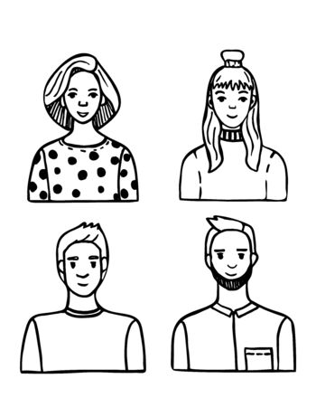 Portraits of people in Doodle style. Parents and children, images for clipart. Hand drawn vector illustration.
