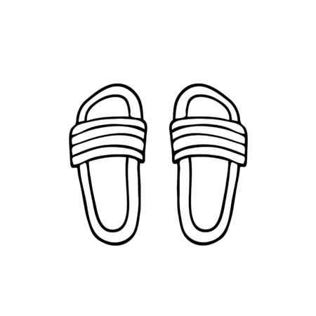 Hand drawn vector illustration. Summer shoes with decor. Black sketch, Doodle on a white background. Illustration