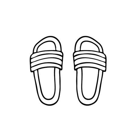 Hand drawn vector illustration. Summer shoes with decor. Black sketch, Doodle on a white background. Illusztráció