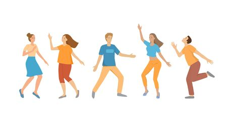 A group of young people dancing, men and women. Funny poses, bright colors, characters shapes isolated on a white background. Girls and boys are smiling, having fun. Flat cartoon vector illustration 向量圖像