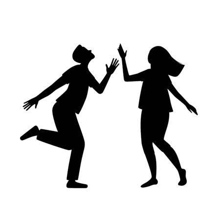 A black silhouette of a man and woman dancing on a white isolated background. Cute funny couple of dancers, vector illustration. 向量圖像