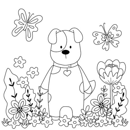 Childrens coloring book with cute puppy, flowers, butterflies. Simple shapes, contour for small children. Vector illustration of a square page.