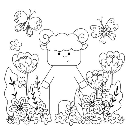 Kids coloring book with cute lamb, flowers, and butterflies. Simple shapes, contour for small children. Vector illustration, square page.