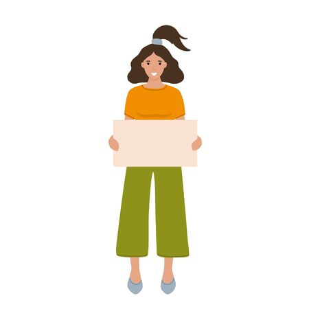 A nice young woman is holding a blank sheet of paper, a place for the text. A girl in bright clothes with a smile on her face. Character isolated on a white background, flat cartoon vector.