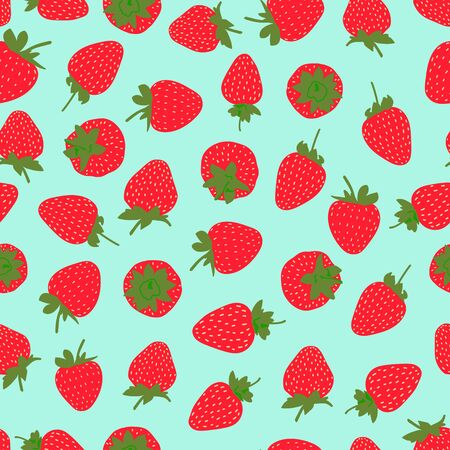 Seamless pattern with strawberries on a turquoise background. Cute bright vector illustration for textiles and decor.