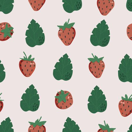 Seamless pattern with strawberries and leaves. Geometric summer ornament for textiles, decoration, templates, covers and Wallpaper. Cute vector illustration.