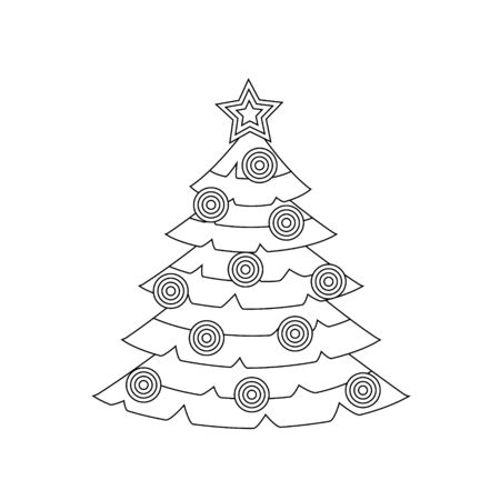 Outline of a Christmas tree with similar round balls. Icon, decor, holiday decor element. Simple vector illustration. Vettoriali