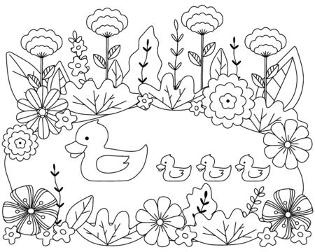 Duck and ducklings on the lake surrounded by flowers and leaves. Cute kids coloring book, outline, silhouette of birds. Cartoon vector illustration.
