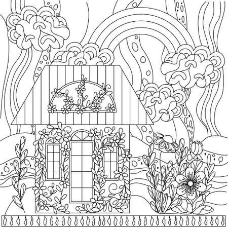 Cute kids coloring book with a house in flowers. Abstract sky with clouds and rainbows, ornament. Black outline on a white background, vector illustration.
