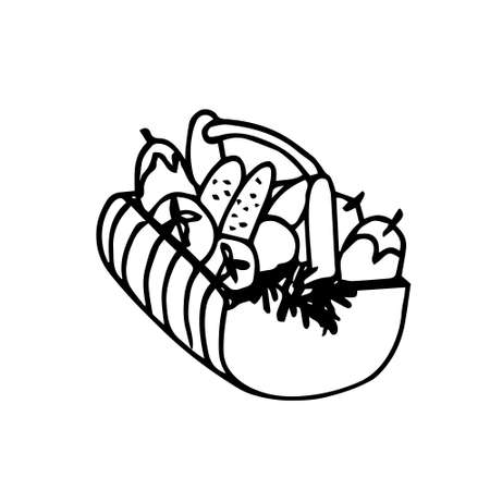 Hand drawn vector illustration of a basket with vegetables. The sketch,the silhouette in Doodle style. Black outline on a white background.