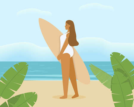 Cute girl holding surf Board. A young woman in a white bathing suit against the sea. Bright vector illustration of a summer vacation.
