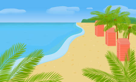 Landscape with the sea coast, palm trees, houses. Summer bright illustration on the theme of travel and leisure.