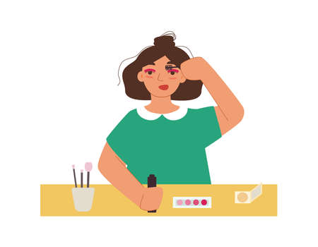 Funny girl paints her eyelashes. A young woman in a green dress at a table doing makeup. Cartoon flat vector illustration.