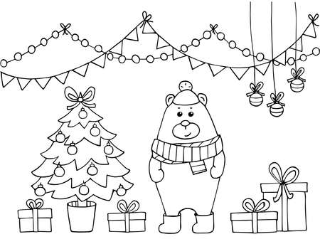 Childrens coloring book with a cute bear in a hat and scarf near the Christmas tree. Black outline, lines on a white background. Vector childish illustration on a new Years theme.