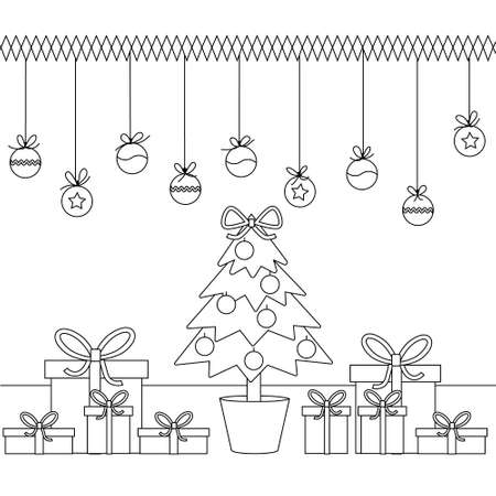 Simple kids coloring book with a Christmas tree, toys and gifts. Black outline, Doodle, silhouette of shapes on a new years theme, vector illustration.