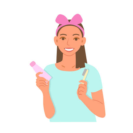 The girl is smiling and holding a toothpaste and toothbrush in her hands. The concept of care for the health of your teeth. Flat cartoon vector illustration. Illustration