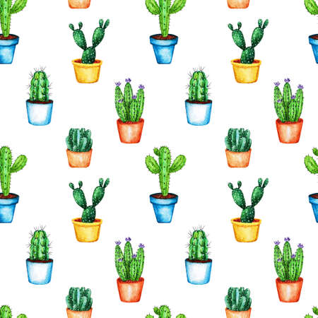 Seamless bright pattern with bright cactus. Watercolor illustration with pencil texture. Print for textiles and decor