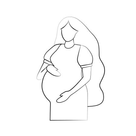 Silhouette of a pregnant woman. Pregnancy and maternity icon. Simple black outline on a white background. Flat vector illustration.
