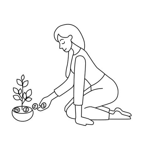The concept of money saving, accumulation and financial growth. A woman puts coins in a pot of sprouts. Black sketch, outline on a white background. Cartoon vector illustration.