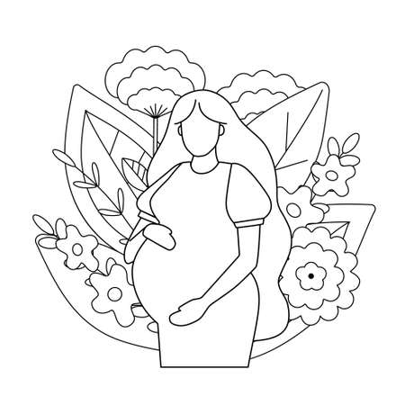 Outline of a pregnant woman on a background of leaves and flowers.