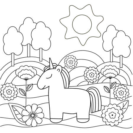 Cute simple kids coloring book with unicorn, nature and flowers. Outline on a white background, vector illustration. Illustration