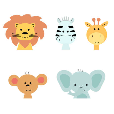 A set of animal faces. Cute giraffe, elephant, Zebra, monkey and lion. Flat cartoon vector illustration Illustration