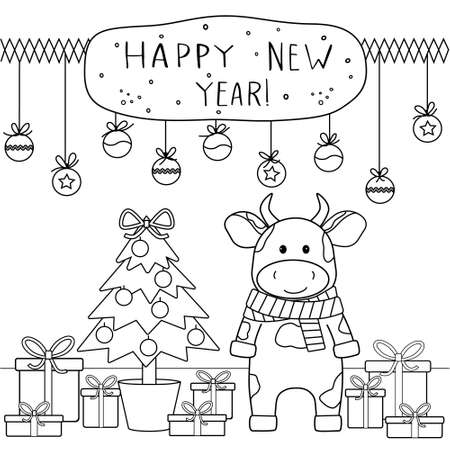 Christmas coloring book with a cute bull, gifts and a fir tree. Black outline on white, sketch, Doodle, vector illustration Illustration